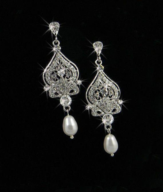 EarringsBridal Pearls, Pearl Earrings, Vintage Earrings, Crystals Pearls, Bridal Jewelry, Earrings Chandeliers, Pearls Earrings, Wedding Earrings, Bridal Earrings