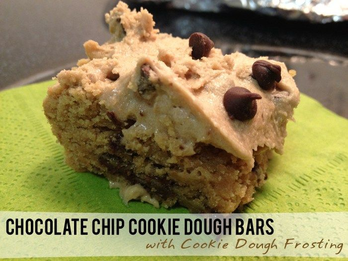 Chocolate Chip Cookie Dough Bars with Cookie Dough Frosting