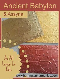 Babylon Art Lesson for kids- Make Glue Painted Plaques   Harrington Harmonies