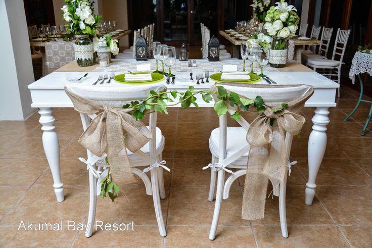 Bide and Grooms table in the Wedding Salon at Akumal Bay Resort