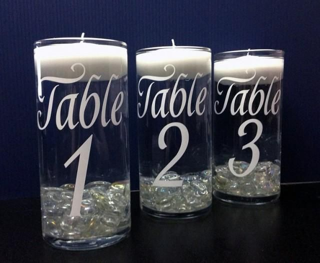 Diy Vinyl Table Numbers Choose Color Of Vinyl Graphic Wedding Decor Wedding Decorations Wed Wedding Table Vases Diy Table Runner Wedding Diy Wedding Table