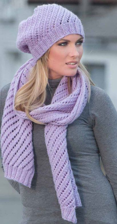 Knitting Patterns Scarves And Hats : Diagonal-Eyelet-Scarf-And-Hat-Knitting-Pattern Knit ...