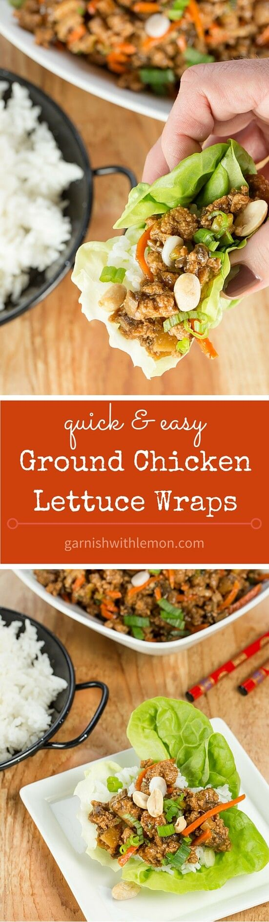 Need an easy and healthy weeknight meal? These Ground Chicken Lettuce Wraps are super flavorful and come together quickly. Leftovers reheat well, too! ~ http://www.garnishwithlemon.com: