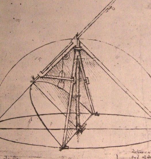 Page: Design for a parabolic compass  Artist: Leonardo da Vinci  Completion Date: c.1500  Place of Creation: Italy  Style: High Renaissance  Genre: design  Technique: ink  Material: paper