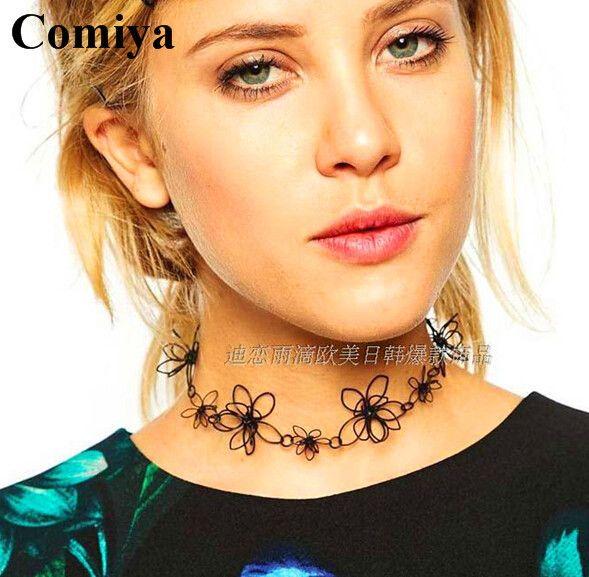 Comiya summer New Fashion Brand simple black gold flower tattoo choker necklace vintage statement collar necklace women jewelry