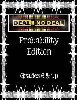 """Deal or No Deal Probability Game!! SO fun for kids to learn probability with a hands on game approach.  One buyer said: """"First we watched an episode of Deal or no Deal. Then the kids got to be the banker vs contestant with this activity. Very popular! They're begging to do it again."""""""