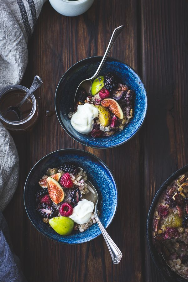Baked Rolled Barley with Figs, Berries, and Cardamom | The Bojon Gourmet