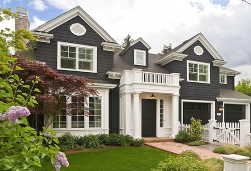 I Love This Dark Grey Color For Siding With White Shutters