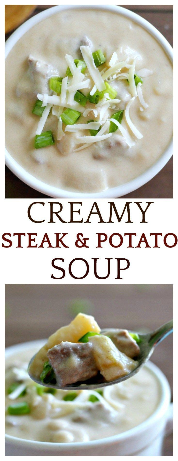This Creamy Steak and Potato Soup is the perfect Fall comfort food recipe! It's hearty, filling, and delicious! Have it when you need a filling lunch, or pair it with a salad for an easy dinner!