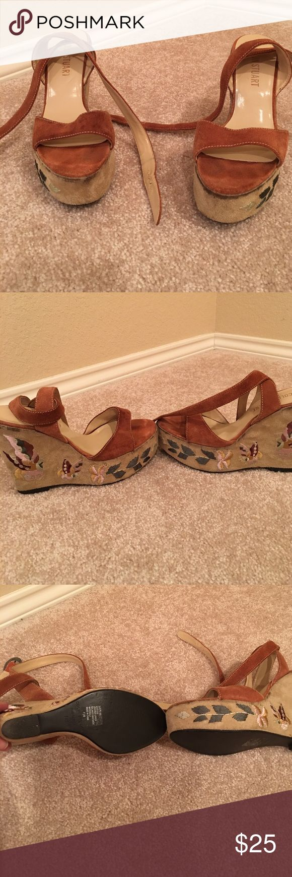Colin Stuart strappy wedges These are well loved ❤️ Colin Stuart wedges with a beautiful butterfly design on sides! They are used as you can see in pics but they still have plenty of life left in them! I loved wearing these out for girls night out or dates. Colin Stuart Shoes Wedges