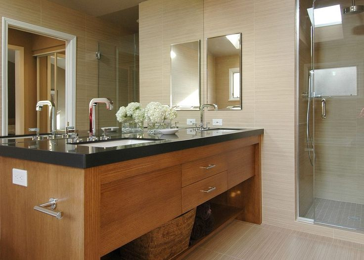 glazed porcelain wood tile shower bathroom contemporary with  metal cabinet and drawer pulls