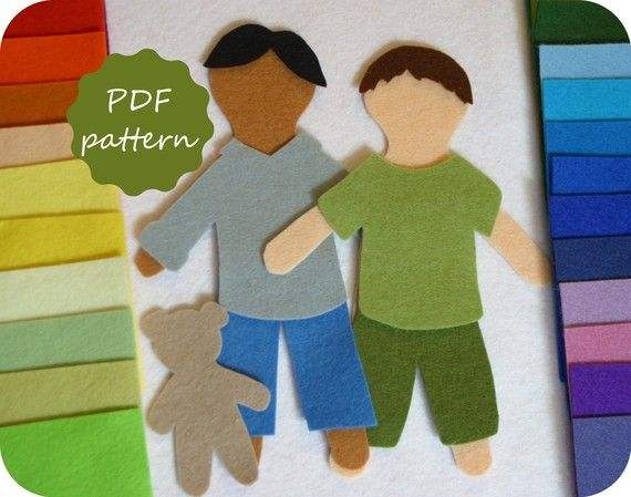 Elliott felt paper doll pdf pattern for flannel board for Felt dress up doll template