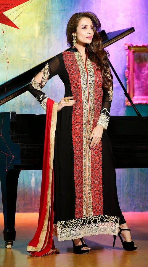 Malaika Arora Khan Black Bollywood Salwar Kameez FD3615888