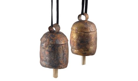Made from metal scraps, Indian artisans who made cowbells turn them into beautiful ornaments you can hang on your patio or serve as a doorbell.