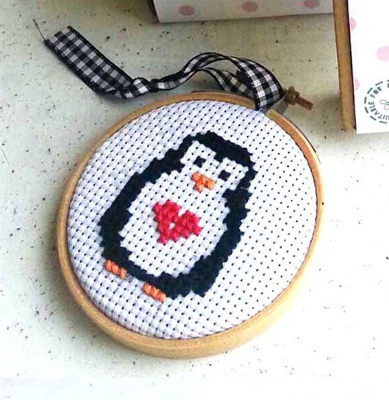 Penguin Bauble Cross Stitch Kit - The Make Arcade - The Treasured