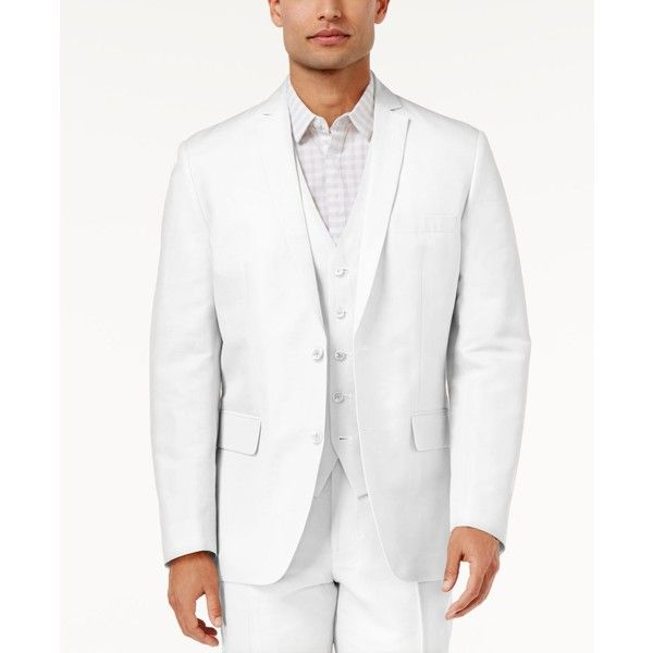 Inc International Concepts Men's Nevin Linen Blazer, ($80) ❤ liked on Polyvore featuring men's fashion, men's clothing, men's sportcoats, white, men's sportcoats and blazers, mens linen blazer, mens clothing, mens blazer jacket and mens white blazer