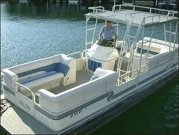 Pontoon with upper sunning deck