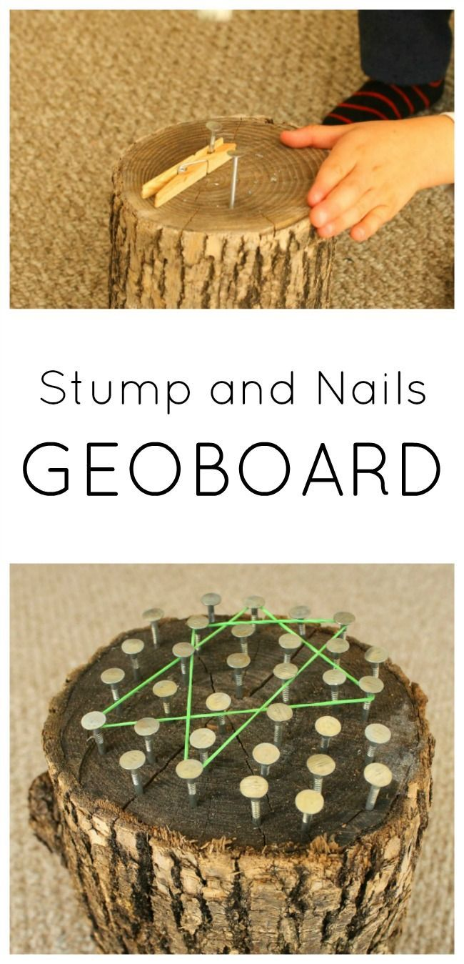 Hammering nails into a wood stump to make a geoboard. A great woodworking project for kids using real tools