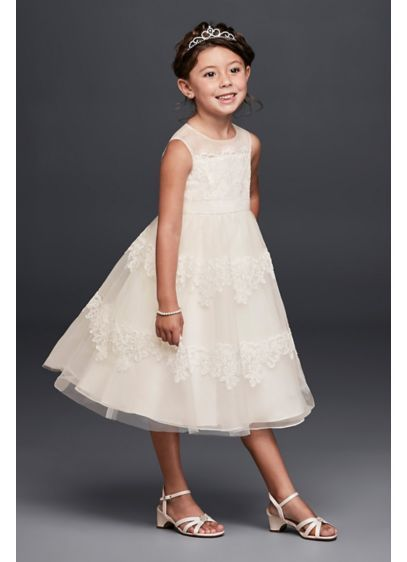 110f41d92aa Banded Lace Illusion Flower Girl Dress WG1374