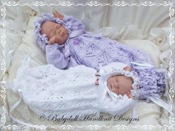 Knitting Patterns For Premature Babies : Lacy Bunting & Bonnet 9-14 inch doll/preemie baby-bunting ...