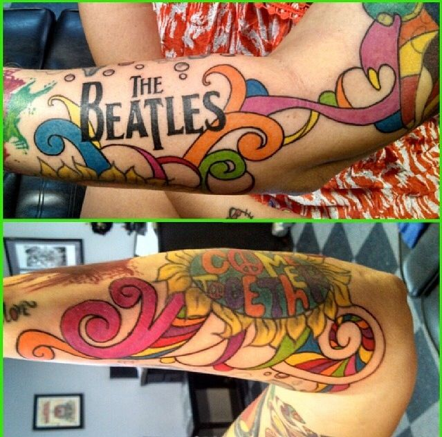 beatles tattoo #beatles #sleeve  #colortattoo