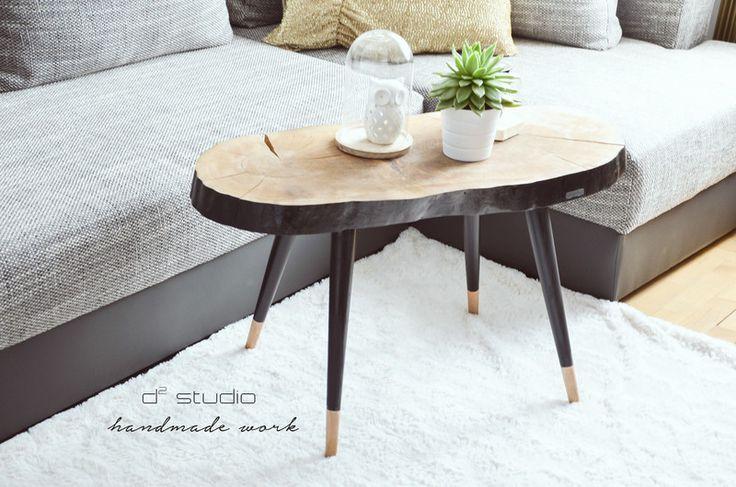 Długi stolik kawowy LONG BLACK skandynawski - d2_studio - Stoliki kawowe