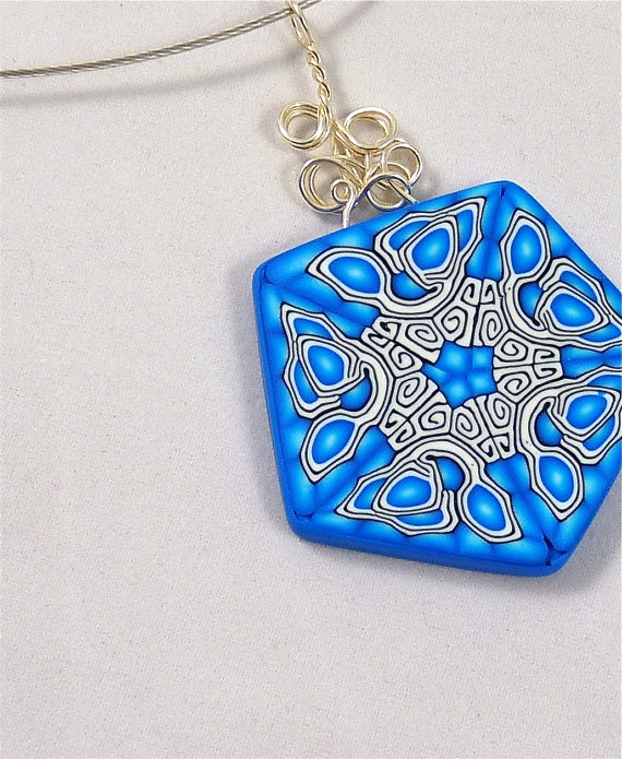 Blue Mirror Image Pentagon Shaped Polymer Clay by Knightworkstudio,