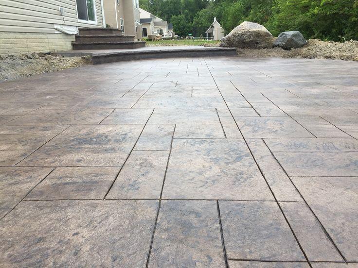 Stamped concrete patio - ashlar pattern, integral color Earthen, Dark Charcoal release