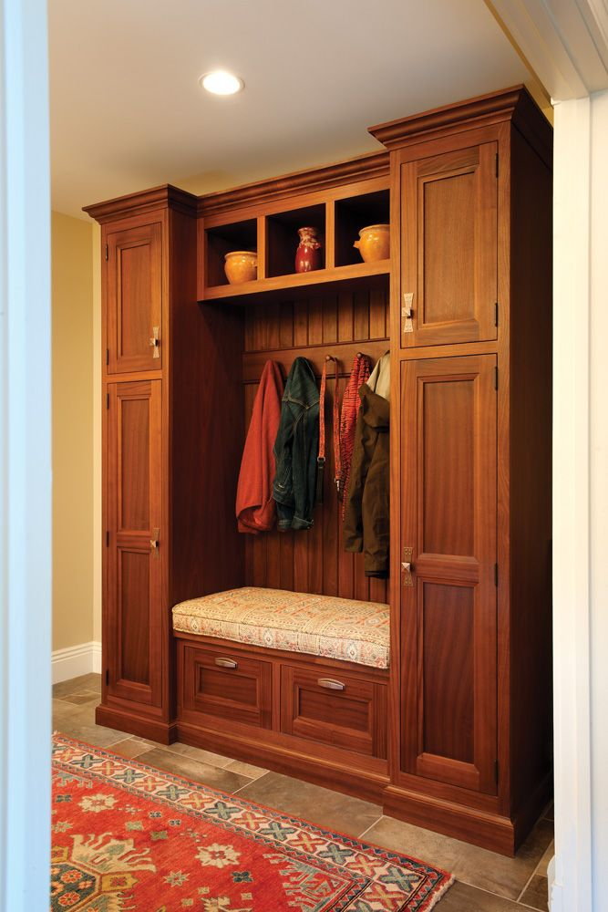 Custom Mudroom Cabinetry, Handcrafted From Sapele With A Honey Stain. A  Built In Bench