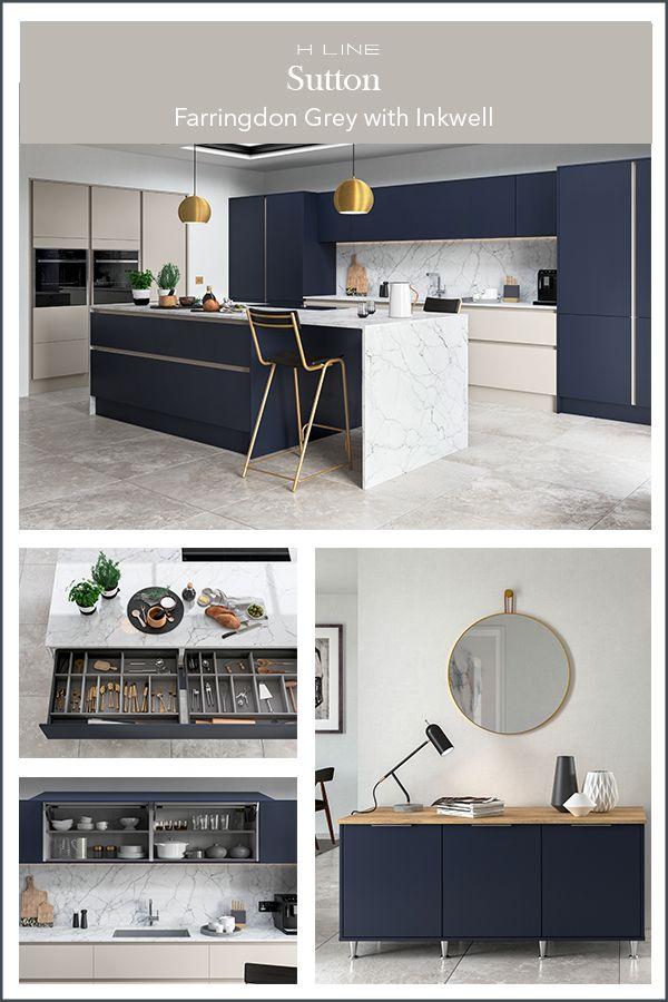 Modern dark blue kitchen with kitchen island in 2020 ...