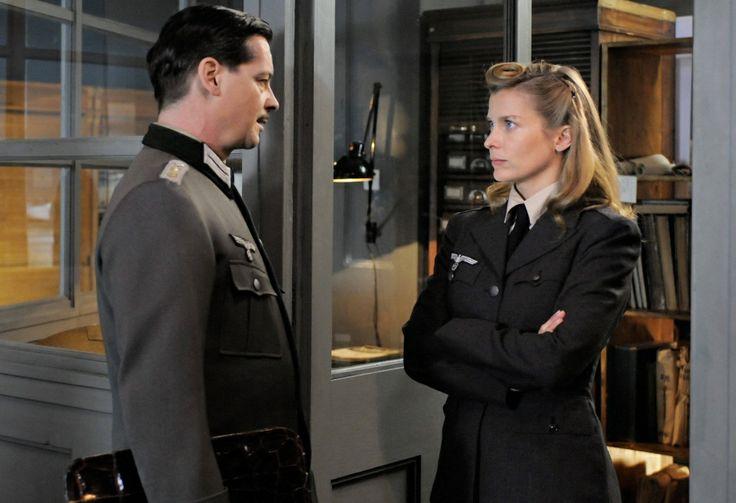 """Valerie Niehaus as the Abwehr agent Vera Schalburg and Fritz Karl as Major Hilmar Dierks, her Abwehr case officer. (From the film """"Die Spionin"""", 2013.)"""