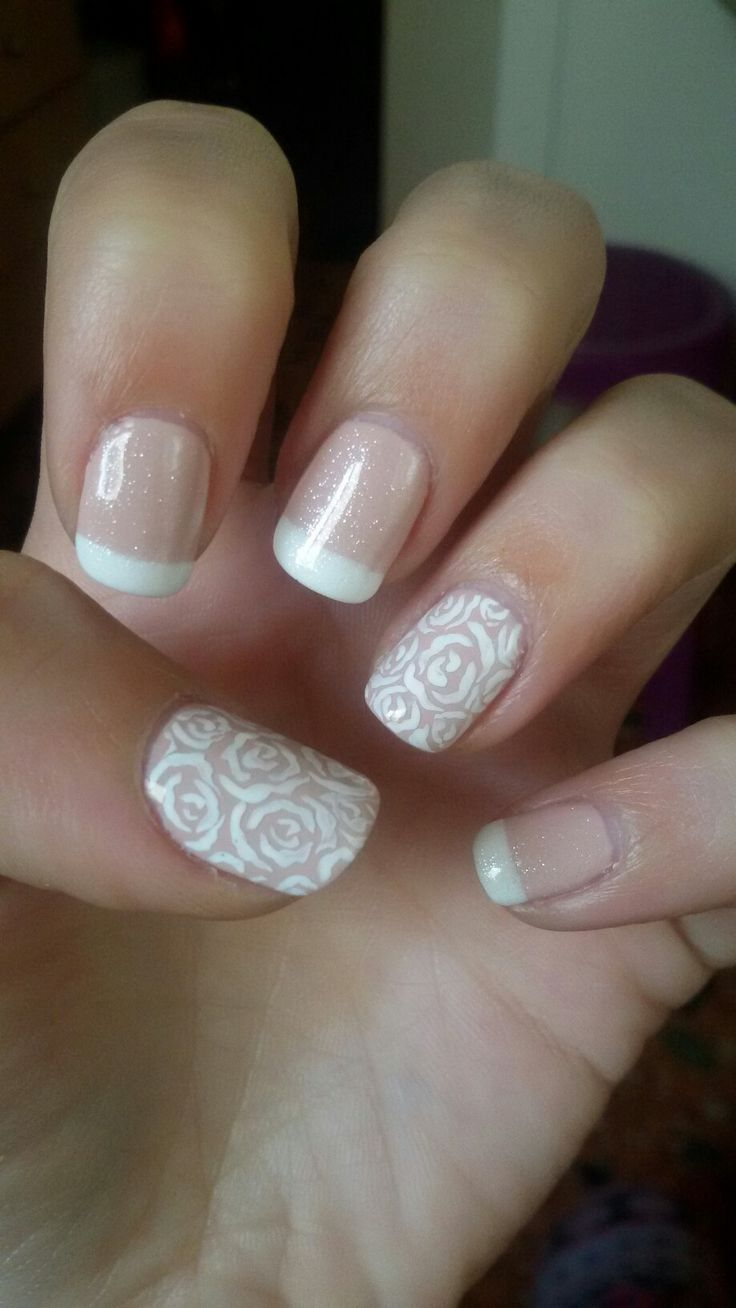 French manicure..Roses nail art_Glitter!!!