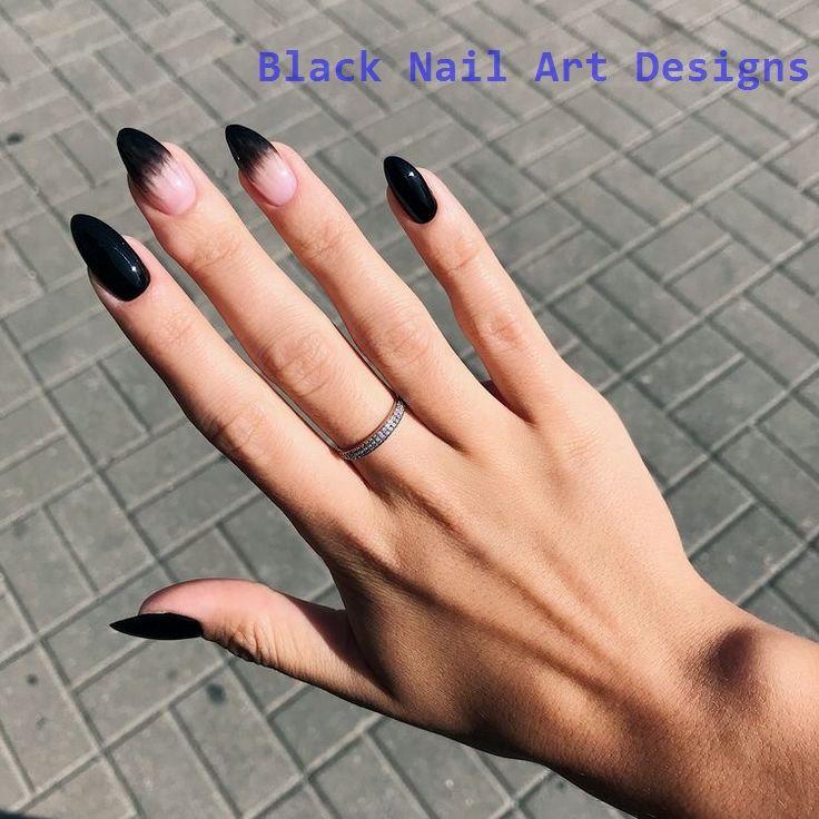 20 Simple Black Nail Art Design Ideas Nailartideas Nails Almond Nails Designs Almond Nail Art Simple Nails