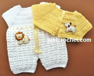Free baby crochet pattern for bodysuit and short jacket http://www.justcrochet.com/bodysuit-short-jacket-usa.html #justcrochet: