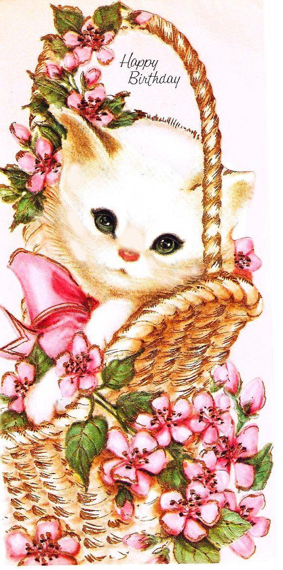 Vintage Birthday Card Kitten Pink Flowers Basket