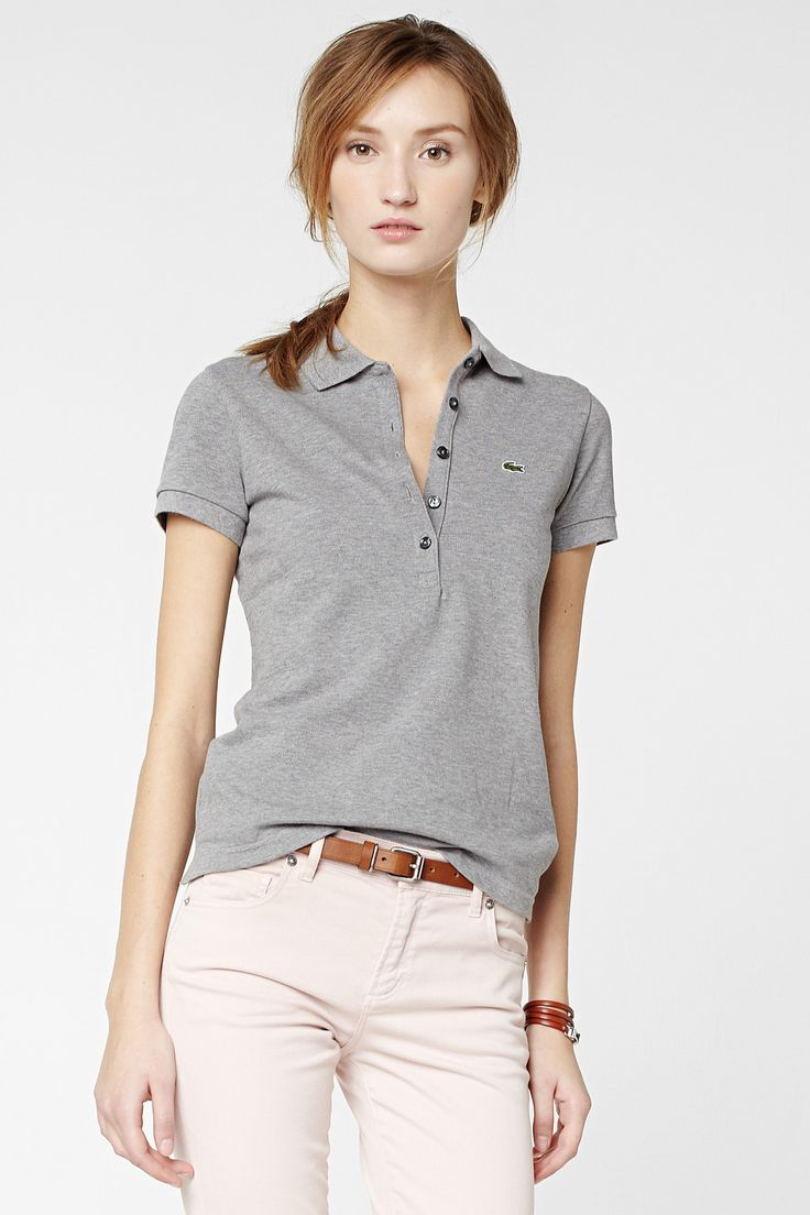 Lacoste - 5 Button Stretch Pique Polo  (Husky Grey & Cucumber Green) ($90)