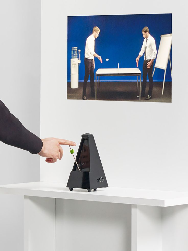 Visitors can control the pace of a table-tennis match by speeding up or slowing down a metronome at this exhibition by ECAL students