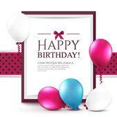 Tarjeta de cumpleaños con globos y marco Vector De Stock
