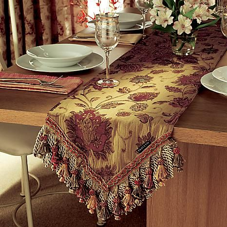 Zurich Table Runner - Luxurious woven table runner with fringed sides. #Kaleidoscope #Home #Kitchen #Dining #Christmas
