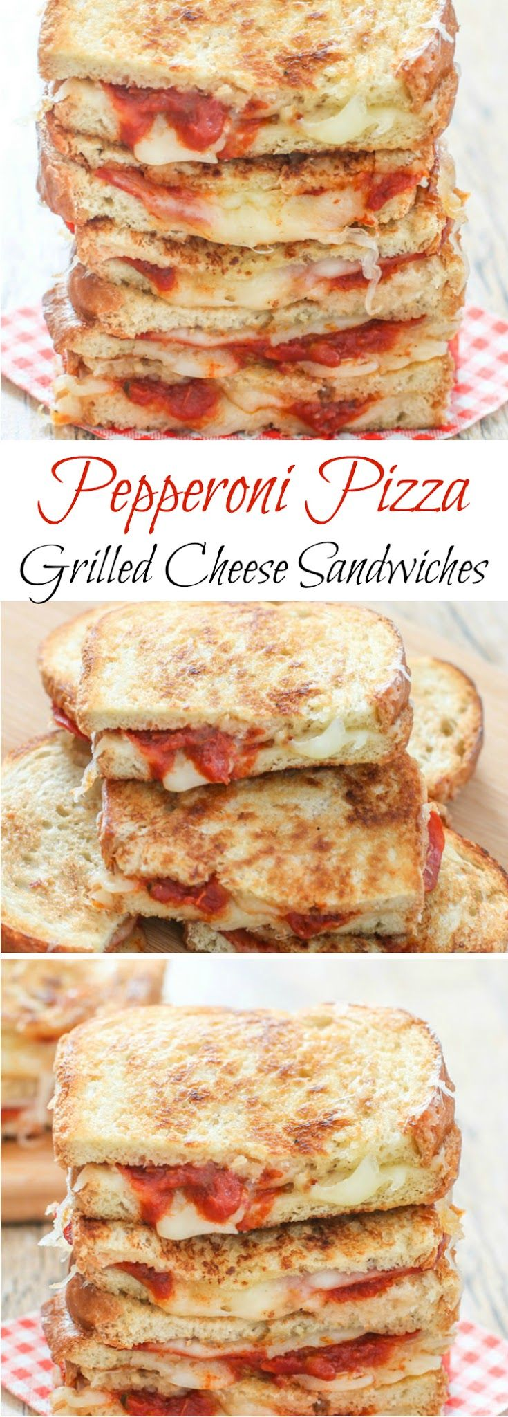 Pepperoni Pizza Grilled Cheese Sandwiches  The recipe is there after you read thru