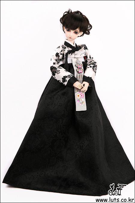 LUTS bjd doll clothes korean hanbok black white floral tradition asian