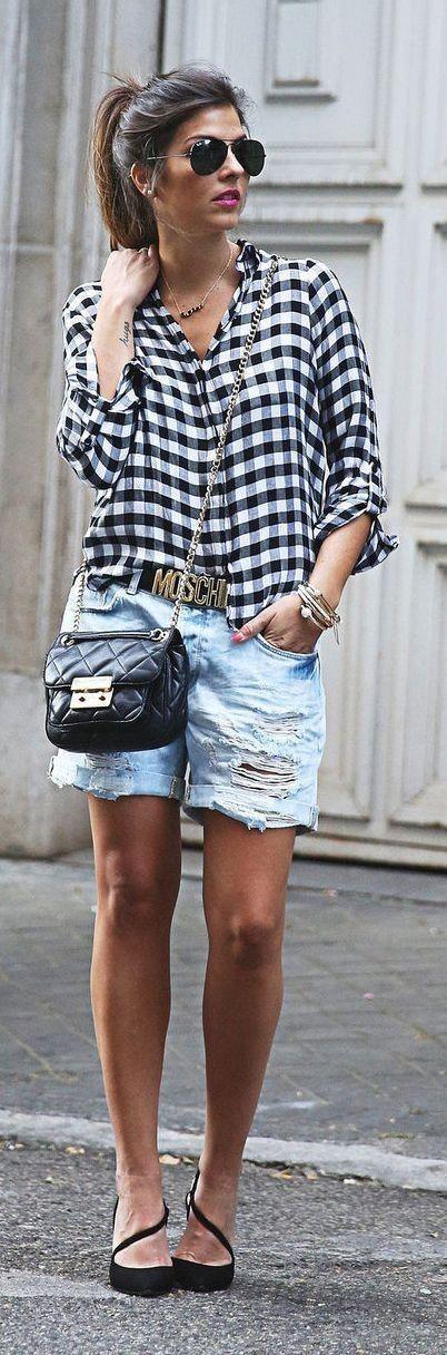 #summer #shorts #trend #outfitideas |Boyfriend Shorts + Checkered Shirt