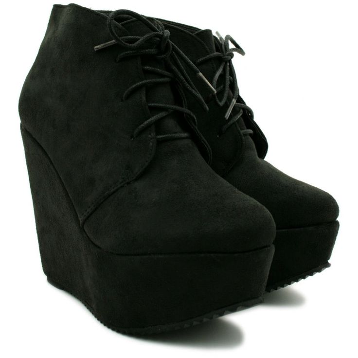 Home › Shoes › High Heel Shoes › Womens Black Suede Style Wedge ...