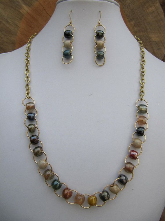 earth tone antique pony bead and gold chain necklace and earring set