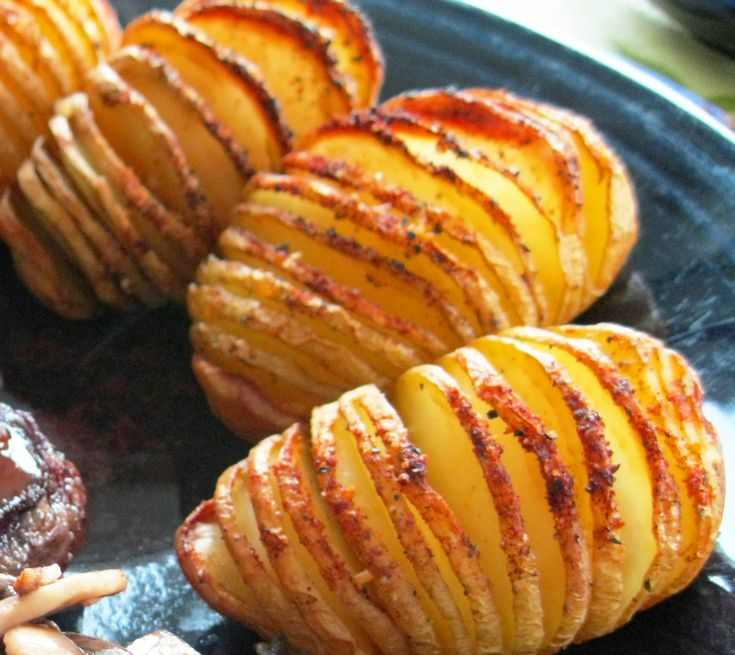 Healthy You: Sliced Baked Potatoes  Slice, olive oil, seasonings... Bake 425 degrees for 40 minutes.