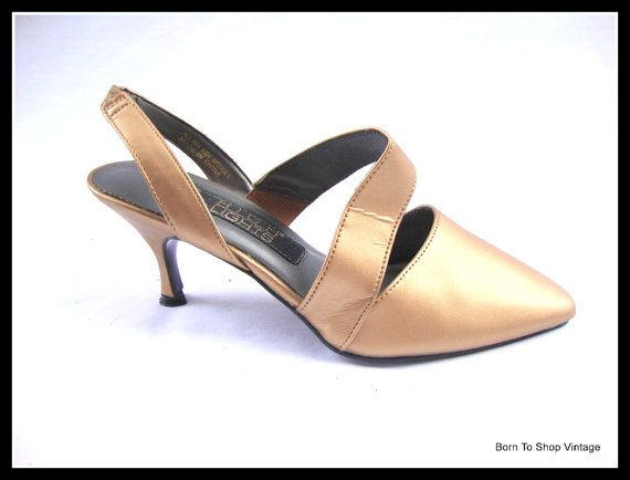 gold strappy high heel shoes sling back  by BornToShopVintage