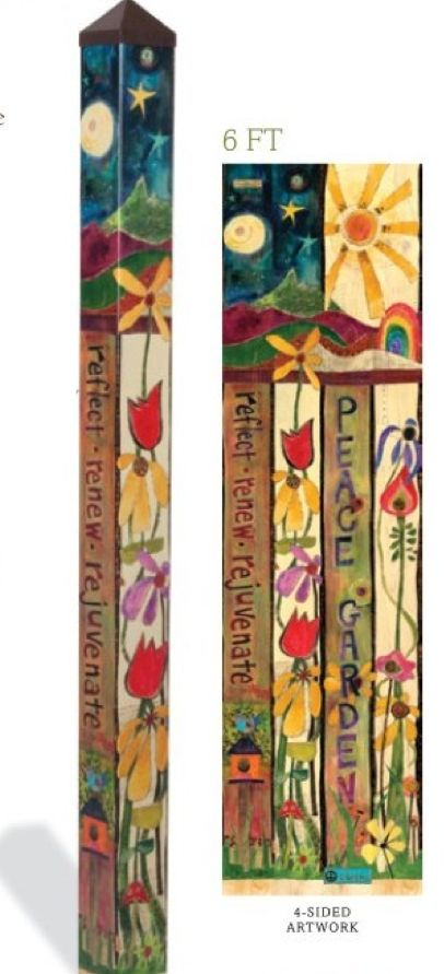 Carolina Creations | Peace pole 6 foot Peace Garden pp214 | Fine Art Contemporary Gift Gallery