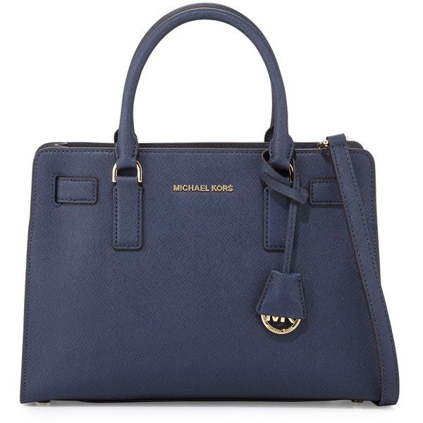 MICHAEL Michael Kors Dillon East-West Saffiano Satchel Bag ($298) ❤ liked on Polyvore featuring bags, handbags, navy, navy handbag, navy satchel, michael michael kors handbags, navy satchel handbags and hand bags