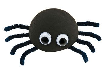 Creepy crawler spider made from styrofoam - activity