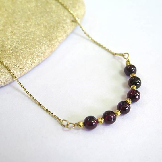 14K Solid Gold Beaded Garnet Necklace